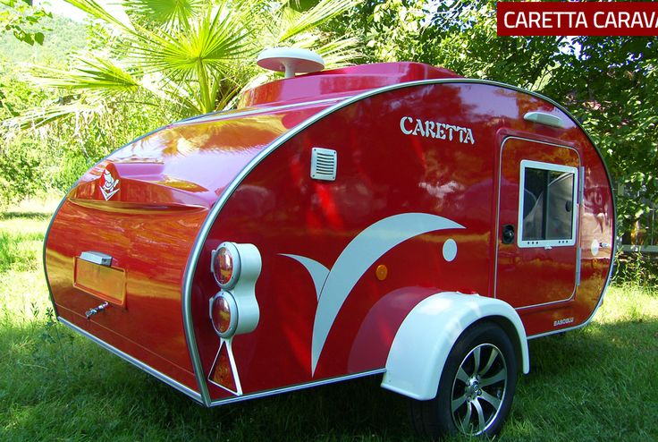Caretta Teardrop Caravan (Basoglu Karavan) in luscious shiny red, perfect for my Fiat 500c Bambina !