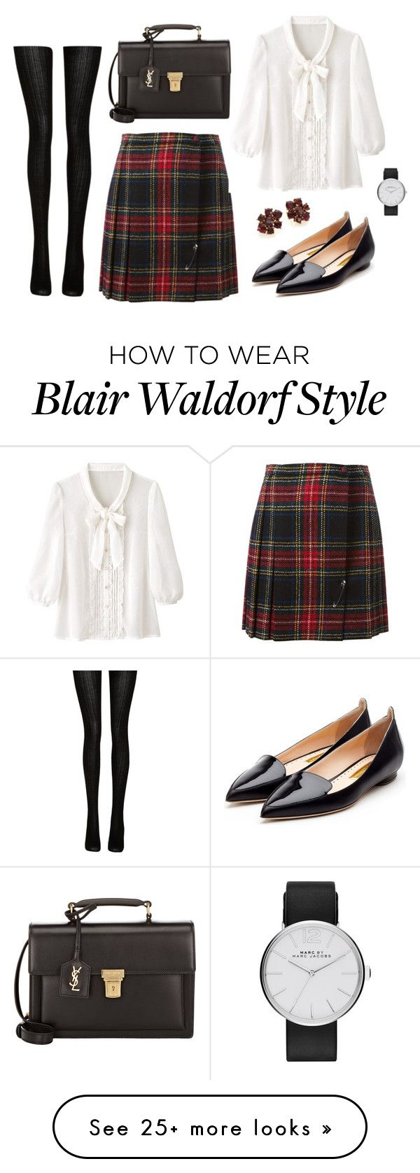 """""""If you really want something you don't stop for anyone or anything until you get it. - Blair Waldorf"""" by redhead-doll on Polyvore featuring Yves Saint Laurent, Marc Jacobs, Rupert Sanderson, Oscar de la Renta and Fogal"""