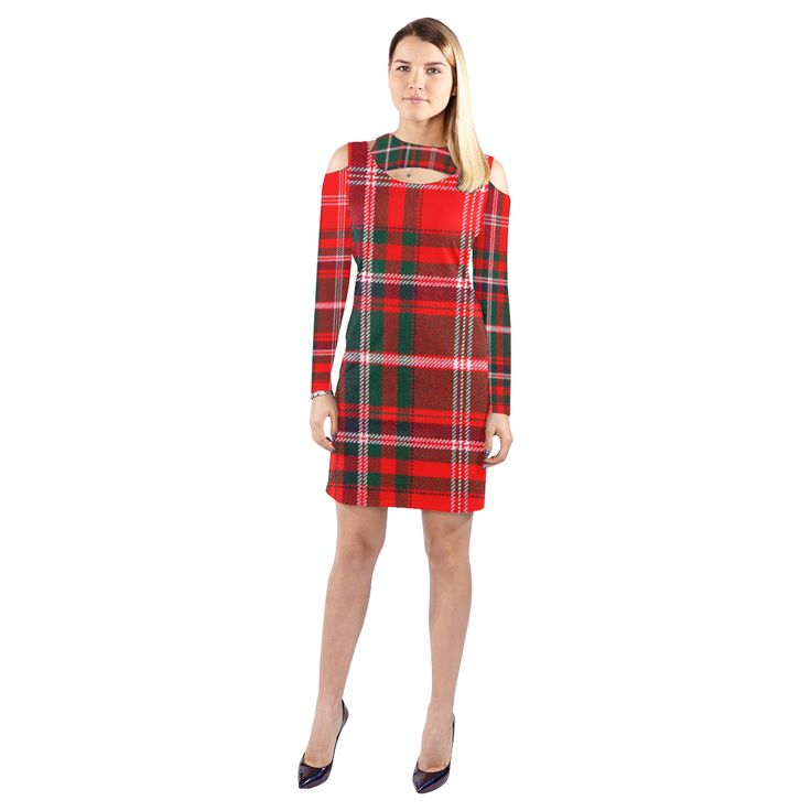Macdougall Tartan Cold Shoulder Long Sleeve Dress  Model D37 Macdougall Tartan Cold Shoulder Long Sleeve Dress  Model D37