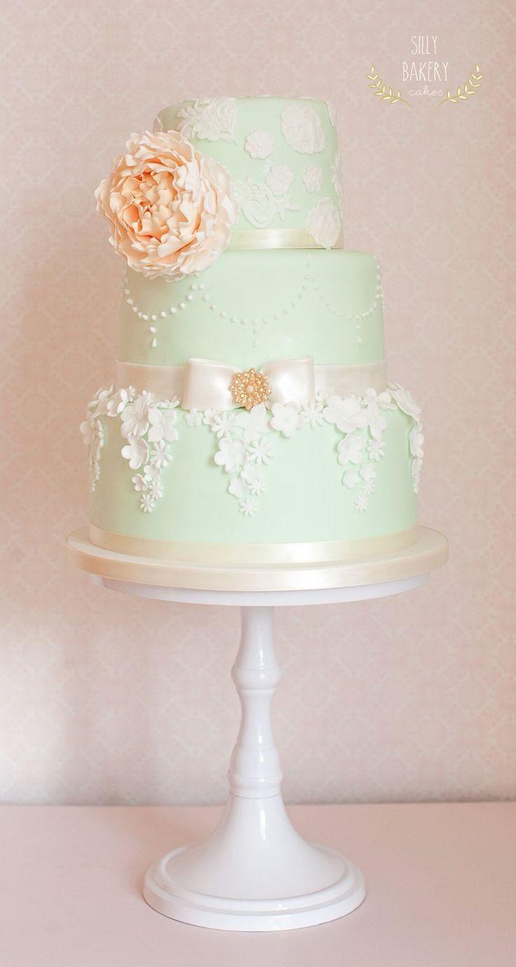 mint wedding cake; via Silly Bakery Cakes