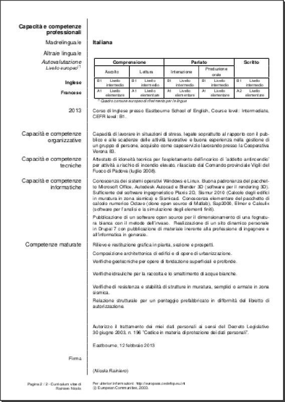 EUROPASS CV ITALIANO DA SCARICARE