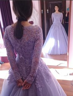 2015 Spring Crystals Long Sleeves Beaded Applique Scoop Tulle Ball Gown Wedding Dresses Colorful Lilac Wedding Dress Purple Theme Gowns from Weddingmall,$178.02 | DHgate.com