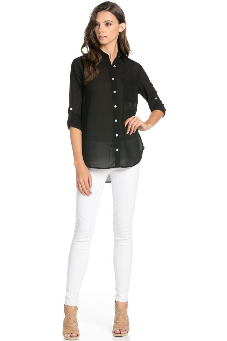 Roll Up Sleeve Button Down Black Chiffon Blouse