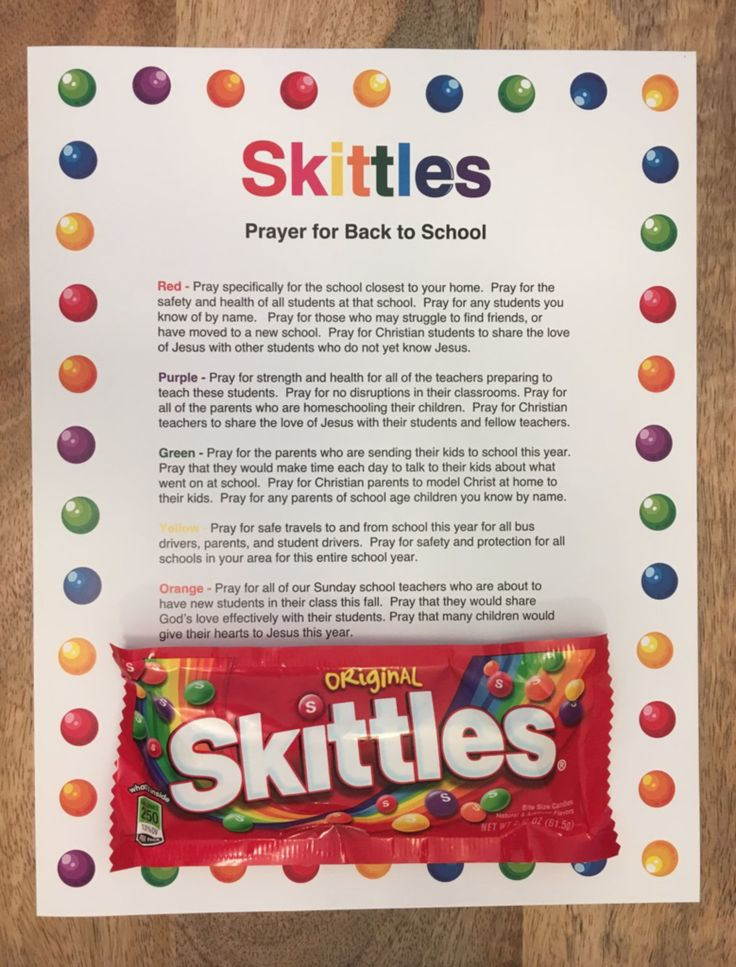 Free Skittles Prayer For Back To School Printable