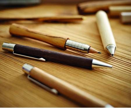 Wooden pens and pencils.