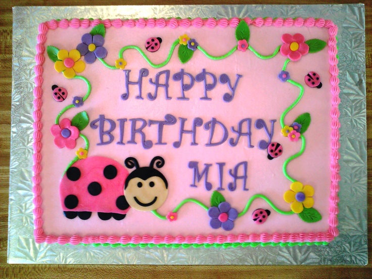Ladybugs & Flowers - 11x15 strawberry cake with vanilla ...