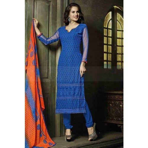 BLUE GEORGETTE CHURIDAR SUIT Price - £37.00 #FashionUK #FashionOnlineUK #DesignerDressesUK #OnlineSuitUK #ShopkundUK