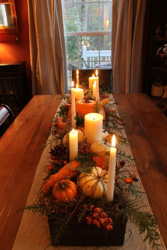 Build a long wood box, stain, and add spanish moss, pumpkins, pinecones, candles, etc. This is beautiful: Long Wood, Fall Decor, Pine Cones, Thanksgiving Centerpieces, Wood Boxes, Fall Tables, Thanksgiving Table, Center Pieces, Spanish Moss