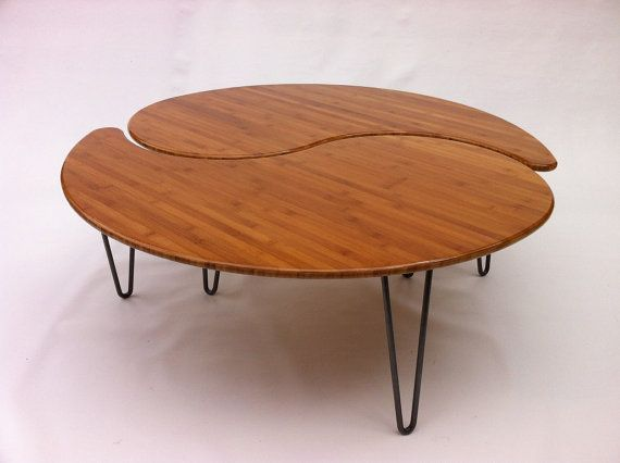 Yin Yang Nesting Large Round Coffee Table Mid Century Modern Atomic Era Design In Bamboo