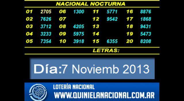 Loteria Nacional - Quiniela Nocturna Jueves 7 de Noviembre 2013. Fuente: www.quinielanacional.com.ar