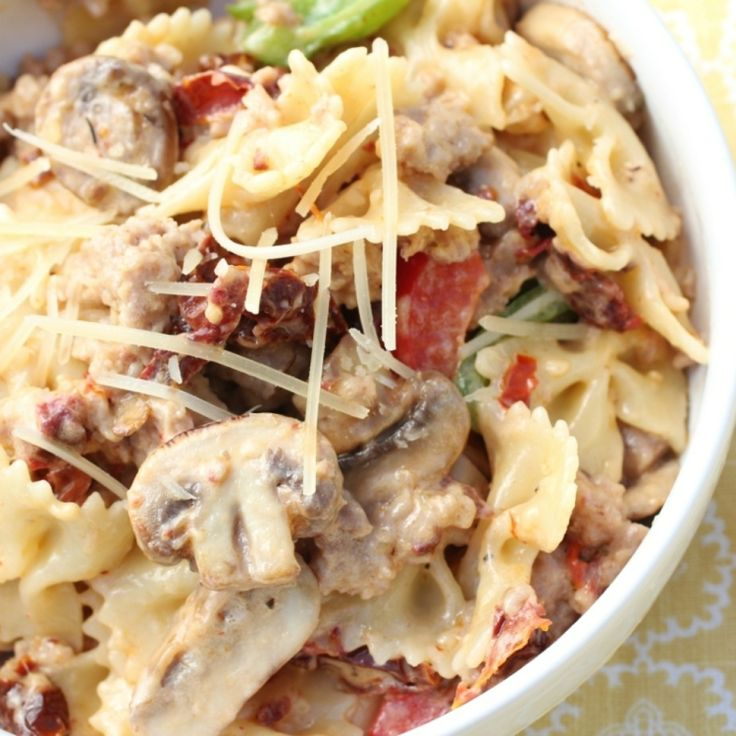 Farfalle with Mushrooms and Italian Sausage Recipe | Just A Pinch Recipes