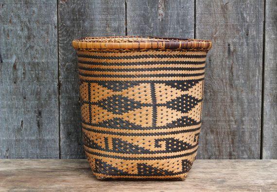 Large Vintage Woven Boho Basket / Boho Decor / Southwestern Decor / Geometric Aztec Design on Etsy, $30.00