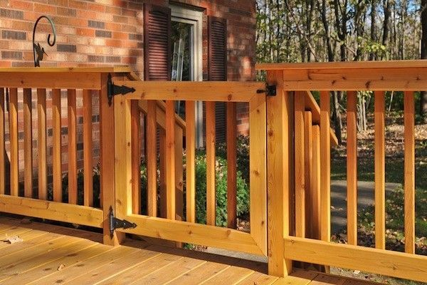 Add a latched gate to your deck rails, especially if your deck has a high elevation, or there's children or pets in the household.