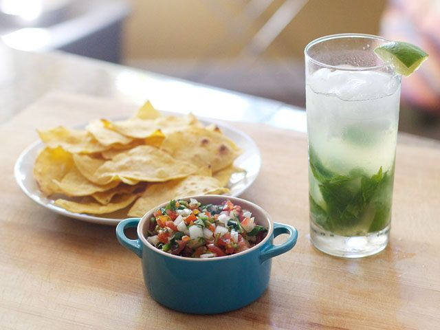 Serrano Salsa for 2, Tortilla Chips for 2, and Mojitos for 2...can't wait to try these recipes!