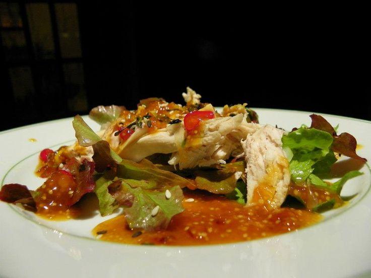 salada de frango com molho de physalis