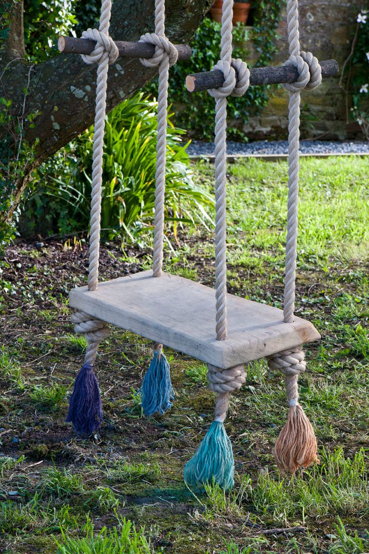 This beautiful swing hangs in the garden of Annie Sloan's house in France. It is made using a simple oak board and gorgeous thick rope which has been frayed and dip-dyed in diluted Chalk Paint®. The board is held up with knots and handles have been made from branches. To learn more about dip dyeing with Chalk Paint®, visit www.anniesloan.com/techniques