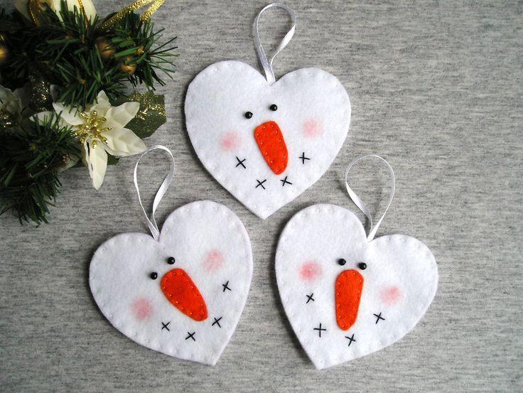 Kerstboom ornamenten sneeuwpop voelde voelde Kerst