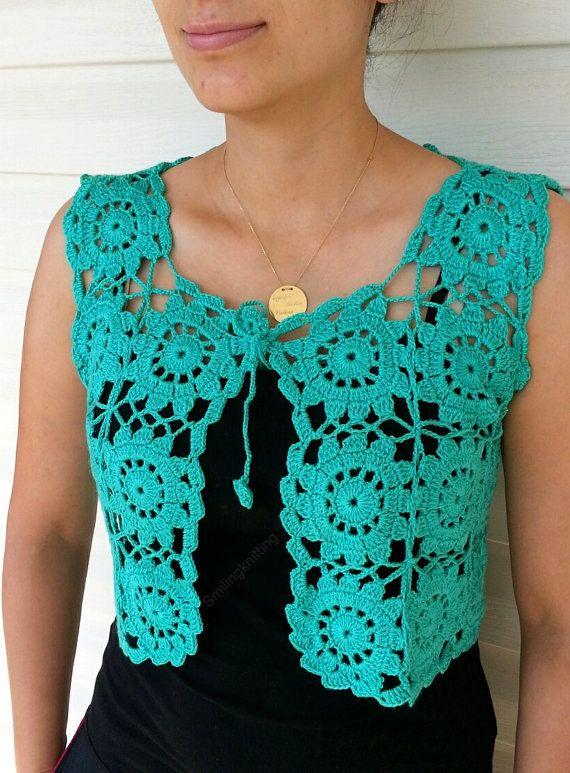 Granny Square Green Vest Crochet Sweater Lace от SmilingKnitting