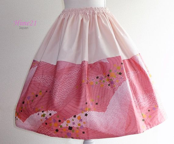 Japanese pattern cotton Skirt Pink and Crane Waist  by Hime21, ¥5500