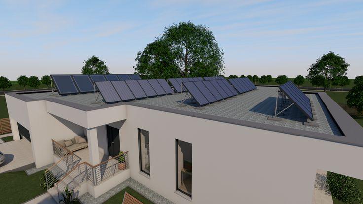 Modern, 5 szobás, 229 m2-es földszintes családi ház mintaterve, alaprajzzal A ház nulla energiás. Az energiaellátást napelemek és hibrid kollektorok biztosítják. A megtermelt áramot a háztartási helyiség beépített szekrényében elhelyezett akkumulátorokban lehet tárolni.