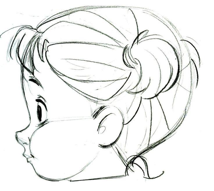 Девочка боком рисунок