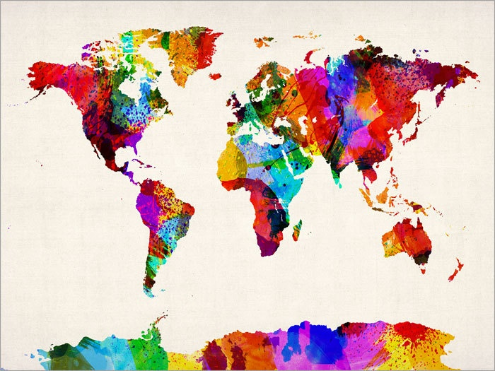 rainbow nations artpause map of the world map abstract painting art print