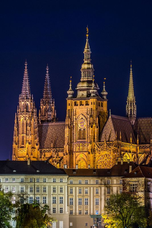 Southern view of Prague Castle - St. Vitus Cathedral, Czech Republic