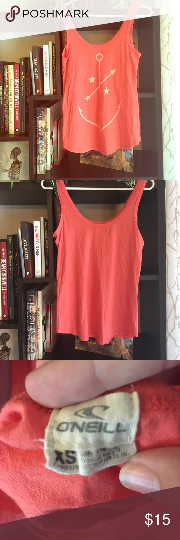 O'Neill orange anchor tank top Super comfy and cute tank top for simple hot days! Nice and soft yet cool, no damage at all. Orange color is not too bright, just right shade between coral and orange. Fits true to size (XS) O'Neill Tops Tank Tops