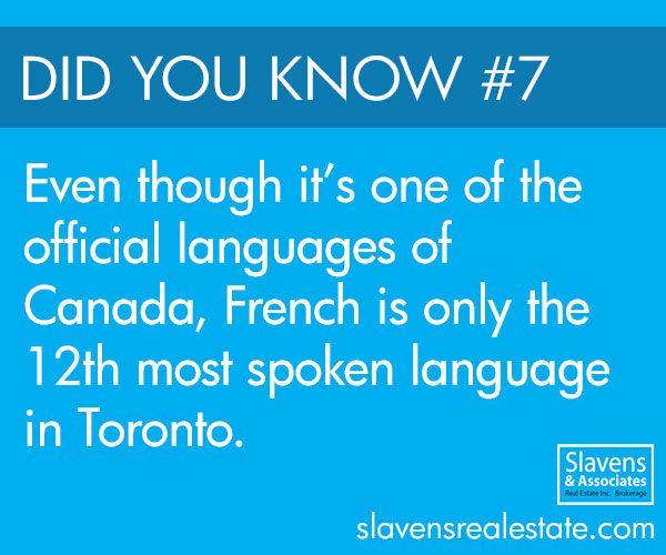 Did you know that Canada's second official language, French, is only spoken by 1.2% of Toronto's population?
