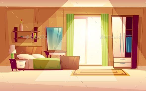 Vector Cartoon Illustration Of A Bedroom Interior Quarto Moderno