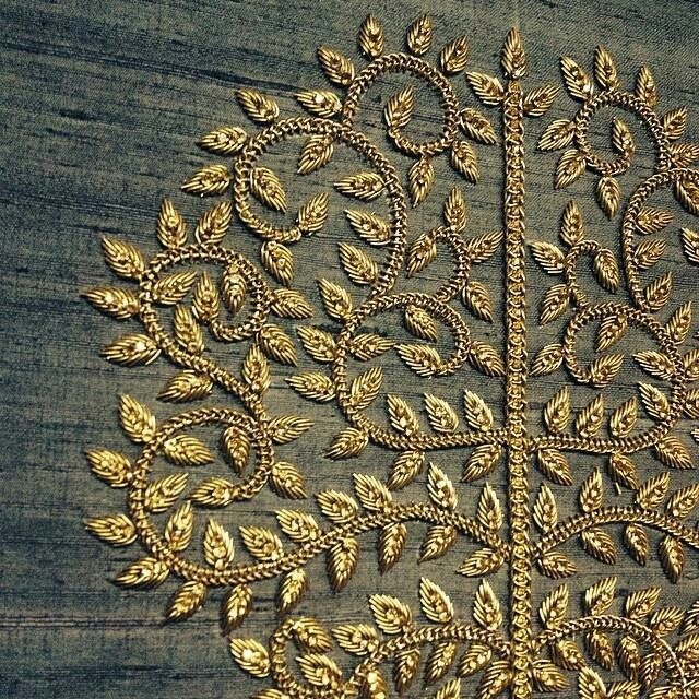 Zardozi Embroidery ~ detail of gold embroidered brand motif of @lavanyalondon