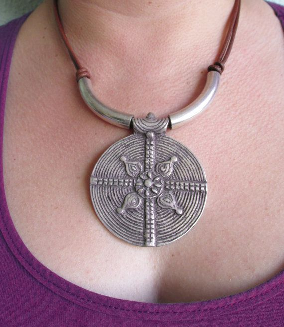 Necklace jewelry genuine greased cow leather and by KustomwizarT
