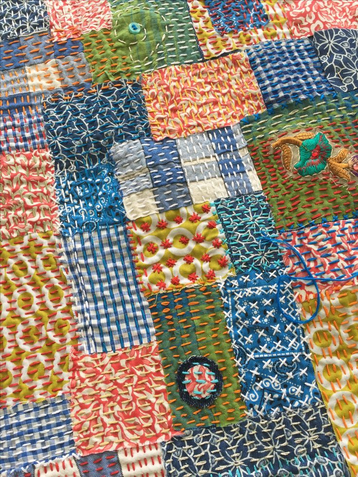 Boho sashiko stitching.