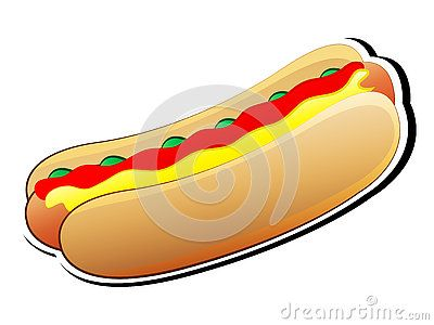 Cute Cartoon colorful Hotdog Vector Illustration.