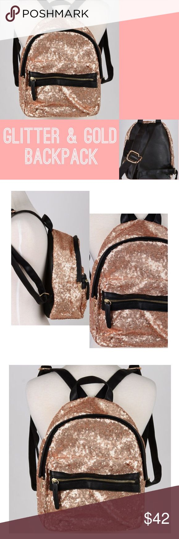 """Glitter and Gold"" Backpack Get your shine on with this gorgeous gold bag that stands out in a crowd and makes a pretty statement!! ✨ Faux leather detail with gold hardware. Measures 12"" x 6"" x 11"", color options include: gold and mixed (gold and silver) Paper Hearts Bags Backpacks"