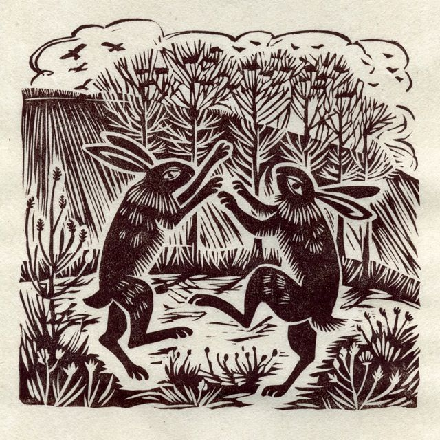 march hares . linocut . by celia hart