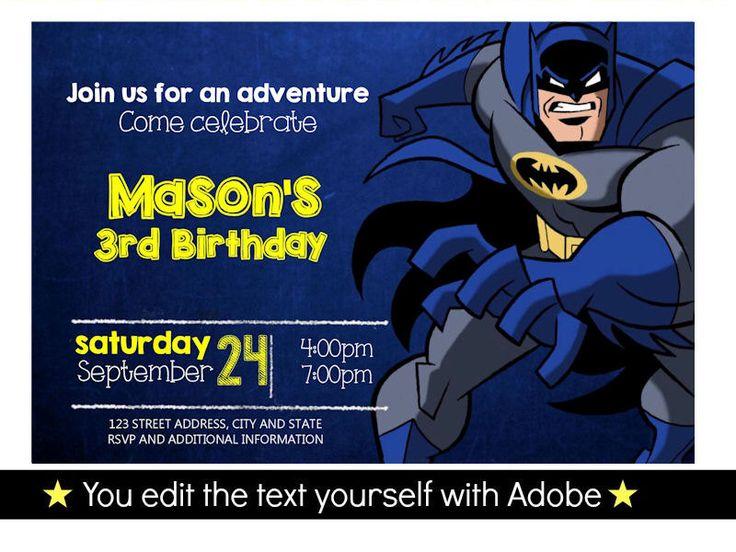 batman birthday invitation editable