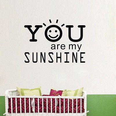 You Are My Sunshine Quote wall sticker decal decor quote art home decoration