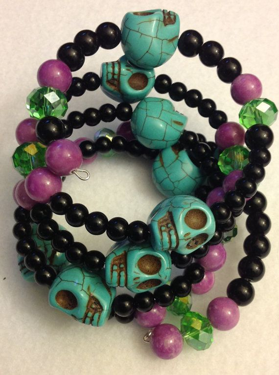 Skull Skull bracelet Skull jewelry day of the by msformaldehyde, $25.00