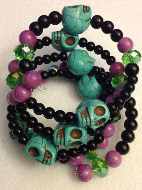 Skull Skull bracelet Skull jewelry day of the by msformaldehyde, $25.00