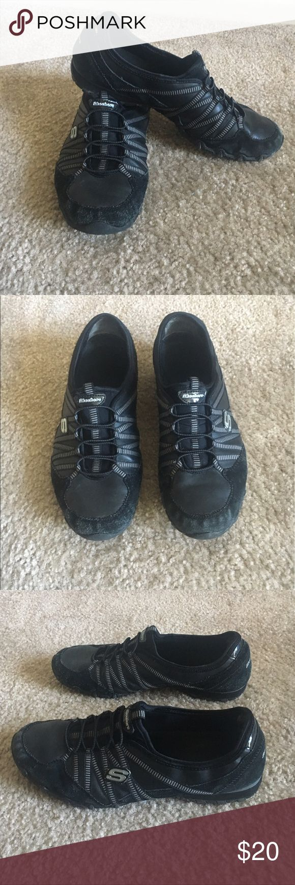 Black Slip On Sketchers Sneakers Good condition. Gently worn. Only defects are shown in last picture. I accept offers and bundles. Skechers Shoes Athletic Shoes