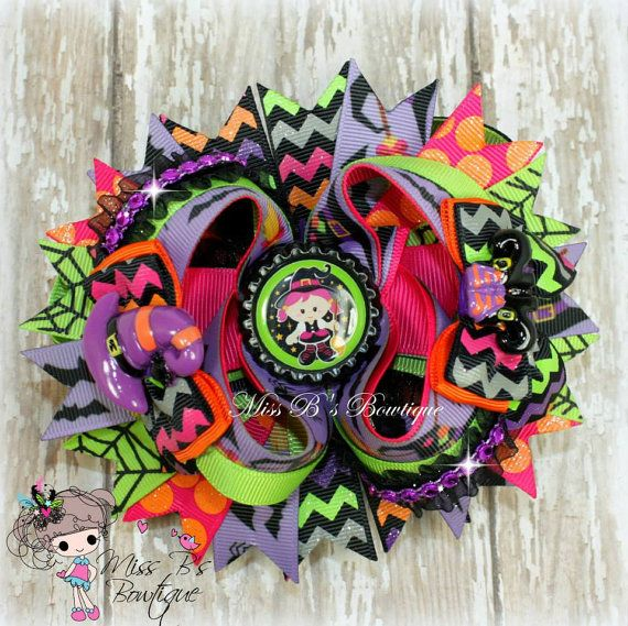 Halloween Bow Cute Witch Hair Bow Boutique Bow by MissBsBowtique05