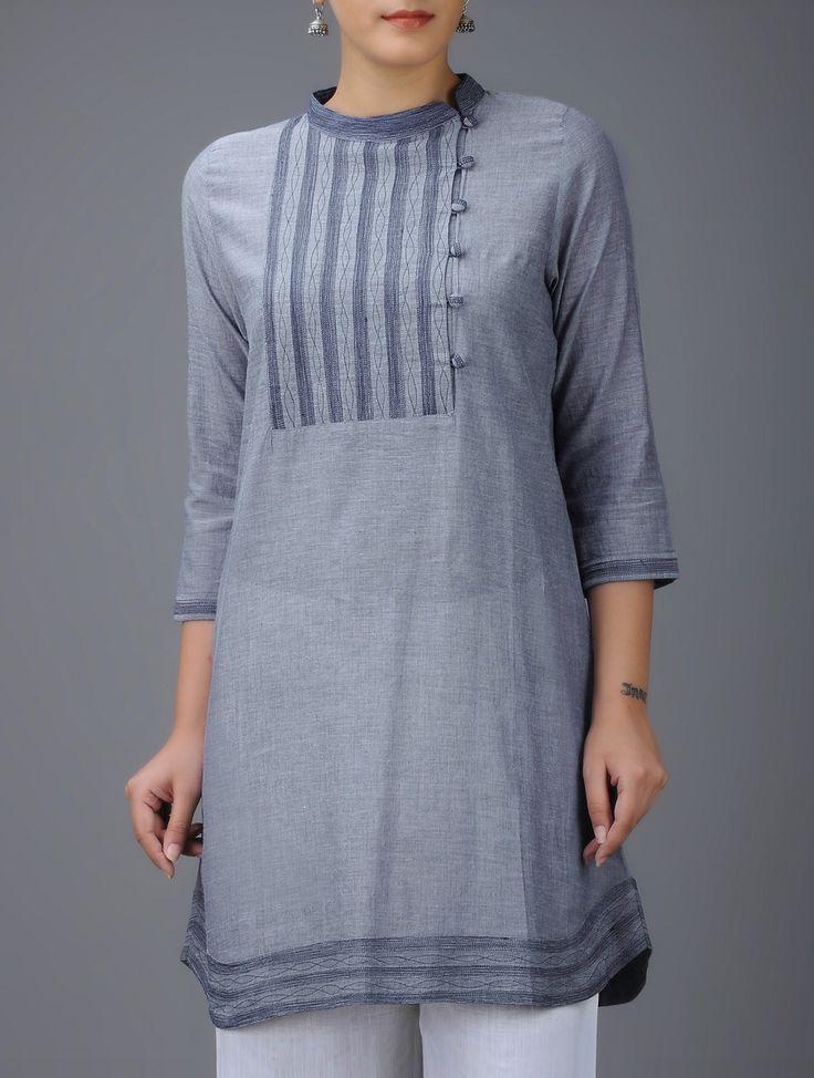 Buy Blue Embroidered Mandarin Collar Cotton Kurta Online at Jaypore.com