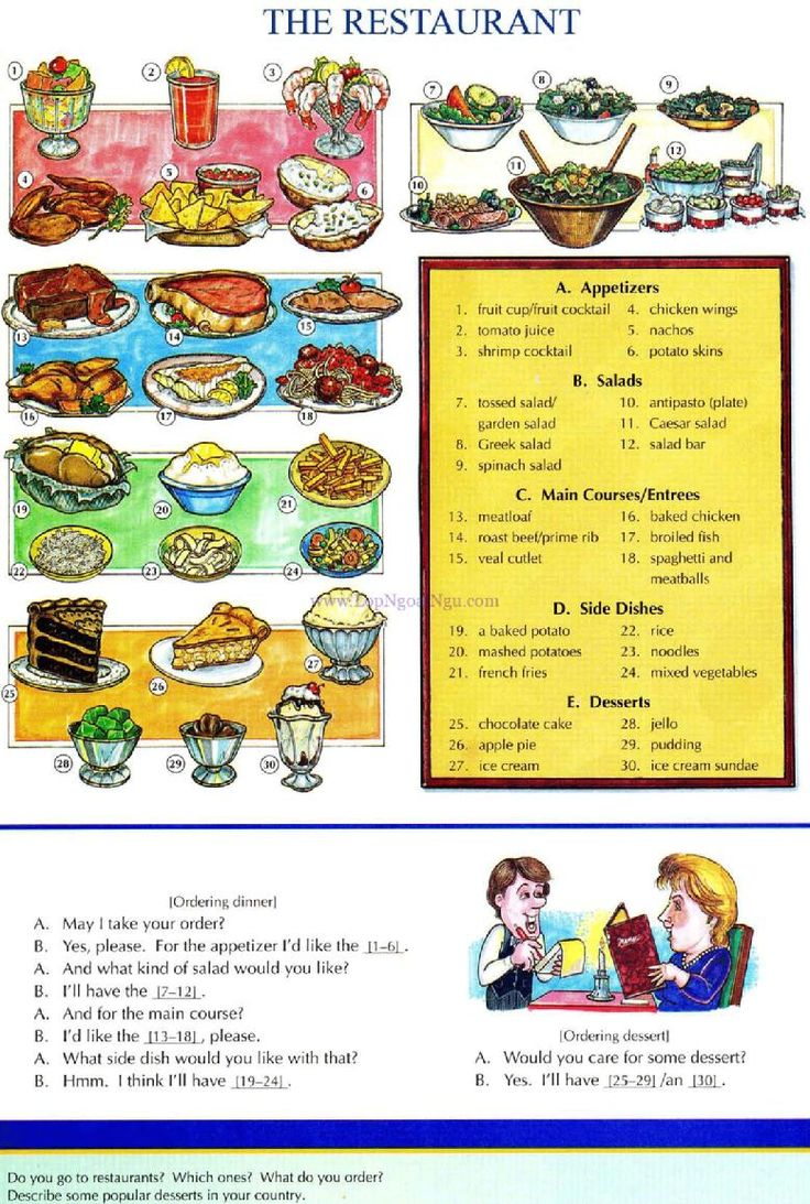 51 - THE RESTAURANT - Picture Dictionary - English Study, explanations, free exercises, speaking, listening, grammar lessons, reading, writing, vocabulary, dictionary and teaching materials