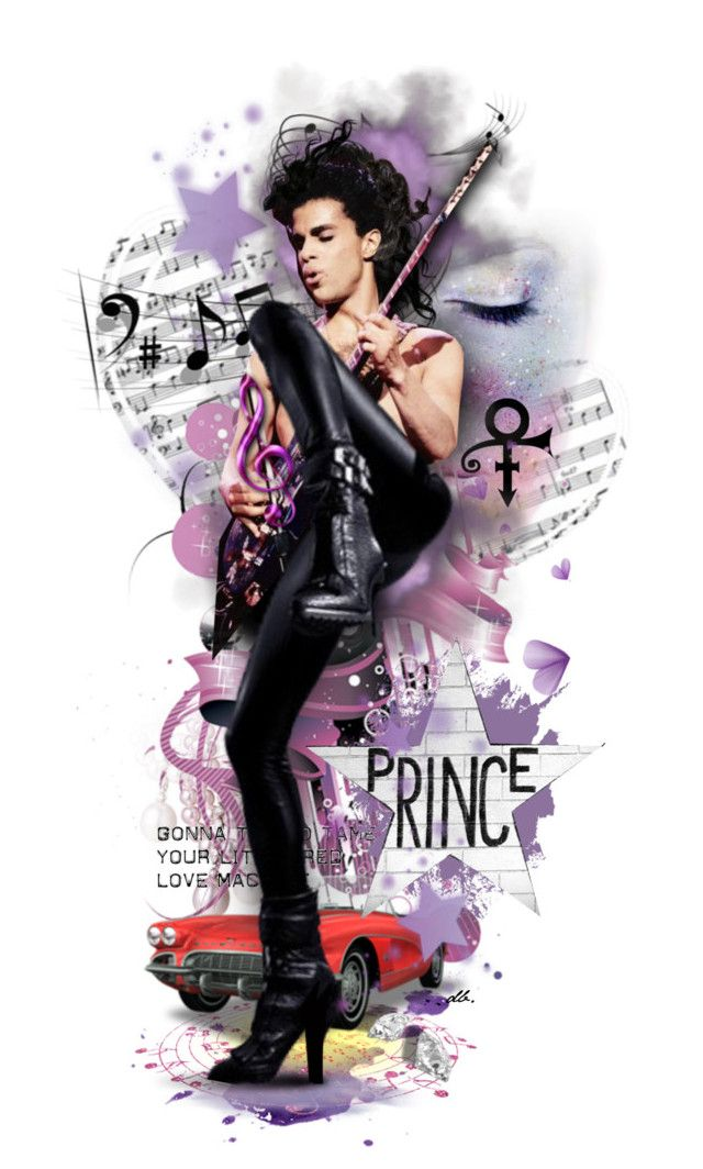 Let's Go Crazy by duchessbee on Polyvore featuring art, purple and prince