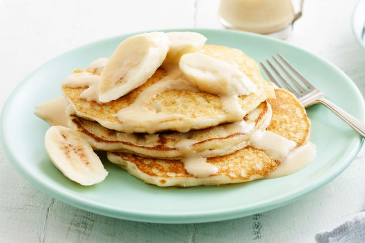 The delicious combo of caramel and banana make these pancakes irresistible.