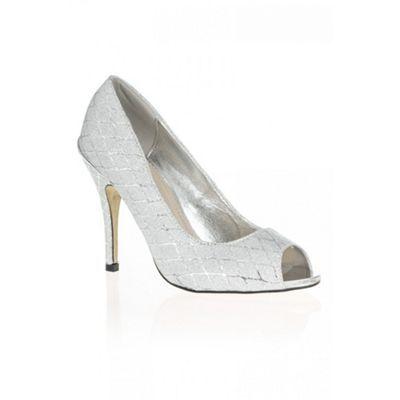 Quiz Silver Diamond Print Shimmer Peep Toe Shoes- at Debenhams.com