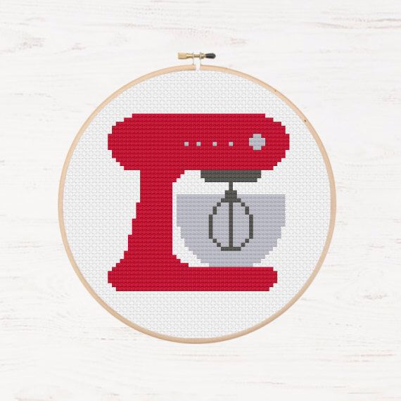 Retro Kitchen Mixer Cross Stitch Baking Pattern Instant Download PDF Appliance Cooking Hobby Kitchen Art Mixing Bowl Baking Decor DIY Gift by Stitchonomy on Etsy https://www.etsy.com/listing/259981774/retro-kitchen-mixer-cross-stitch-baking