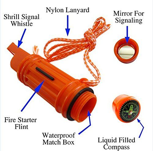 5 in 1 camping boating whistle compass mirror matches survival safety emergency
