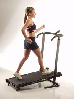 """Green"" treadmill -- no motor, except you! Folds up for easy storage; weighs about 50lbs."